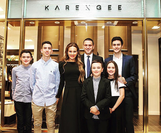 Karen Gee with her gorgeous family - Husband Andrew - Children - Jake, Oscar, Sebastian, Archibald and Zali - Karen Gee Store - Chifley Plaza, Sydney